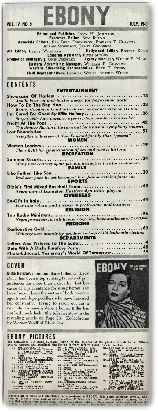 Ebony July 1949目次